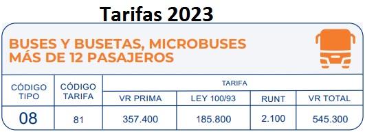 soat 2018 Vehículos de servicio público urbano buses Colombia