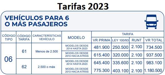 soat 2017 Vehículos De 6 ó Más Pasajeros Colombia