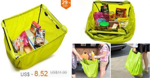 Lime Grab Bag Clip-To-Cart Reusable Grocery Supermarket Shopping Bag Portable